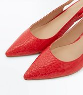 Red Faux Croc Kitten Heel Slingbacks New Look