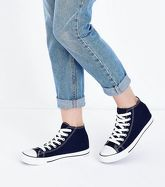 Navy Canvas Stripe Sole High Top Trainers New Look