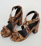 Brown Faux Snake Platform Block Heels New Look