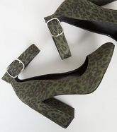 Wide Fit Khaki Leopard Print Ankle Strap Courts New Look