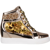 Krisp  Glitter   Sequins Metallic Wedge Trainers {Gold }  women's Shoes (High-top Trainers) in Gold
