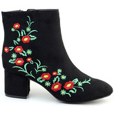London Rag  Women's Floral Print Zipper Ankle Boots  women's Low Ankle Boots in Black