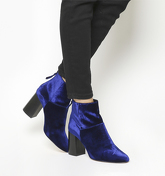 Office Lavender Soft High Heel Block Boot NAVY VELVET