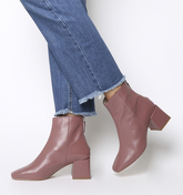 Office Apricot- Square Toe Block Heel Boot PINK LEATHER