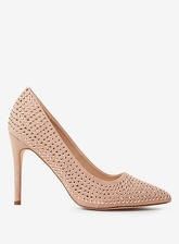 Womens Nude Microfibre Studded Glitter Court Shoes- Cream, Cream