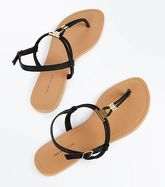 Black Gold Metal Toe Post Sandals New Look