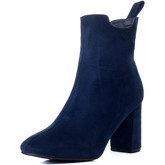 Spylovebuy  REFINED Block Heel Ankle Boots Shoes - Blue Suede Style  women's Low Ankle Boots in Blue