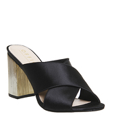 Office Hindsight Cross Vamp Mule BLACK SATIN