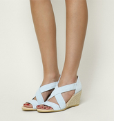 Office Maiden Cross Strap Wedge PASTEL BLUE SUEDE