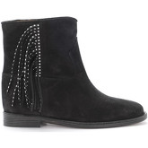 Via Roma 15  black suede ankle boots with side fringe  women's Mid Boots in Black