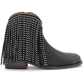 Via Roma 15  Texan black leather ankle boots with fringes  women's Low Boots in Black