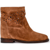 Via Roma 15  brown pierced suede leather ankle boots  women's Low Ankle Boots in Brown