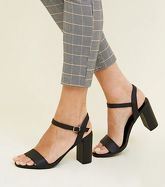 Black Two Part Block Heel Sandals New Look