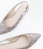 Rose Gold Glitter Slingback Pointed Pumps New Look