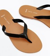 Wide Fit Black Leather Knot Strap Flip Flops New Look