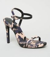 Pink Camo Print Stiletto Heel Sandals New Look