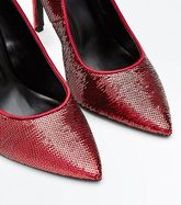 Wide Fit Red Sequin Pointed Court Shoes New Look
