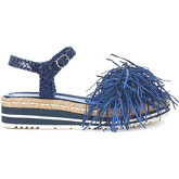 Pon´s Quintana  Pons Quintan blue woven leather sandal with fringes  women's Sandals in Blue