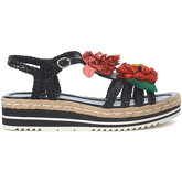 Pon´s Quintana  black woven leather sandal with flowers  women's Sandals in Multicolour