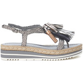 Pon´s Quintana  silver woven leather sandal with tassels  women's Sandals in Grey