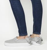 Office Flash Mob Bow Back Slip On Trainer GREY