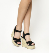 Office Ahoy Cross Strap Espadrille Wedge BLACK SUEDE