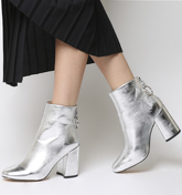 Office Argon- Block Heel Back Zip SILVER METALLIC