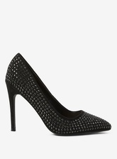 Womens Black Microfibre Studded Glitter Court Shoes- Black, Black