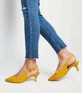 Wide Fit Yellow Faux Croc Kitten Heel Slingbacks New Look