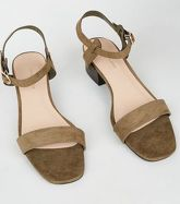 Khaki Suedette Low Block Heel Sandals New Look