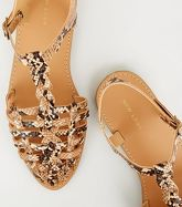 Camel Faux Snake Woven T-Bar Sandals New Look