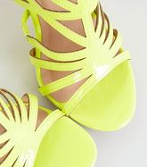 Yellow Neon Patent Caged High Vamp Stiletto Heels New Look