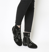 Office Avenue- Flat Casual Boot BLACK SUEDE WITH SILVER STUDS