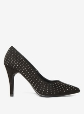 Womens Wide Fit Black 'Glare' Embellished Court Shoes- Black, Black