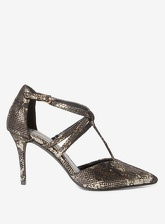 Womens Gold Snake Gloss Court Shoes- Gold, Gold