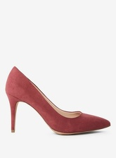 Womens Burgundy Microfibre 'Electra' Court Shoes- Red, Red