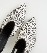 White Leather Animal Print Pointed Slingbacks New Look
