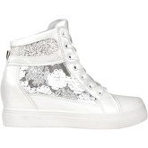 Krisp  Glitter   Sequins Metallic Wedge Trainers {White }  women's Shoes (High-top Trainers) in White