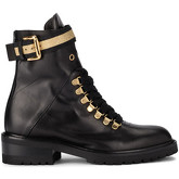 Via Roma 15  black leather ankle boots with golden strap.  men's High Boots in Black
