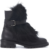Via Roma 15  black leather and ecofur waterproof boots  men's Low Ankle Boots in Black