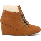 Rag United  Womens Tan Wedge Heel Boots  women's Mid Boots in Brown