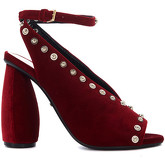 Carven  red velvet heeled sandal with studs  women's Sandals in Red
