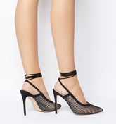 Office Hurricane Fishnet Mesh Court With Ankle Tie BLACK MESH