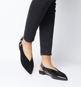 Office Flow Split Slingback Point BLACK LEATHER WITH SUEDE