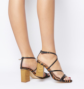 Office High Demand Strappy Upper Wood Heel BLACK WITH TIGER