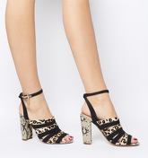 Office Hanoi- Multi Strap Block Heel ANIMAL MIX WITH BRANDED CHARM