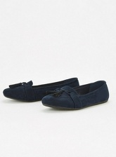 Extra Wide Fit Navy Blue Tassel Pumps, Navy (wide!)