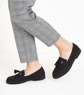 Black Chunky Cleated Sole Tassel Front Loafers New Look