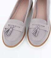 Grey Suedette Tassel Chunky Loafers New Look