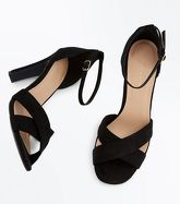 Black Suedette Padded Cross Strap Heeled Sandals New Look